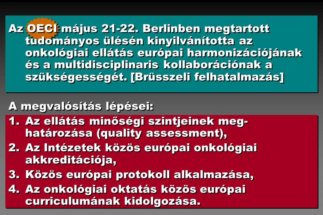 Az OECI május 21-22. Berlinben megtartott tudományos ülésén kinyilvánította az onkológiai ellátás európai harmonizációjának és a multidisciplinaris kollaborációnak a szükségességét. [Brüsszeli felhatalmazás]
